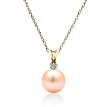 "AAA Quality 14K Yellow Gold Freshwater Peach Pearl ""Sonya"" Pendant - Diamonds Mine"