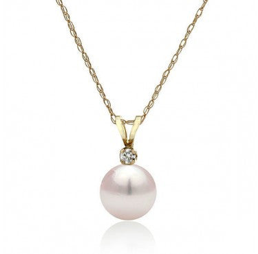 "AAA Quality 14K Yellow Gold Freshwater White Pearl ""Sonya"" Pendant - Diamonds Mine"