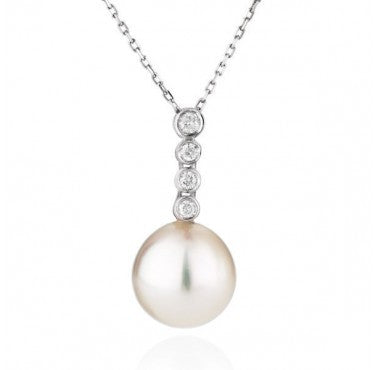 "AAA Quality 14K White Gold Freshwater Pearl ""Yvonne"" Pendant - Diamonds Mine"