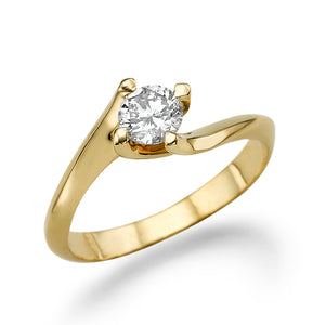 0.5 Carat 14K Yellow Gold Moissanite
