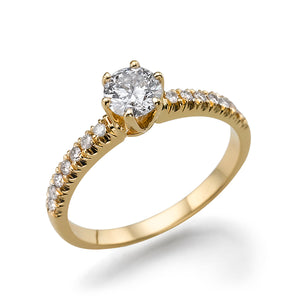 "1.14 TCW 14K Yellow Gold Moissanite ""Venetia"" Engagement Ring"