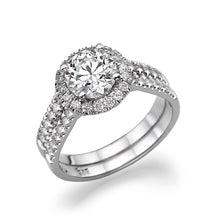 "Load image into Gallery viewer, 1.5 Carat 14K White Gold Moissanite & Diamonds ""Deborah"" Engagement Ring"