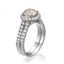 "Load image into Gallery viewer, 2.7 Carat 14K Yellow Gold Moissanite & Diamonds ""Deborah"" Engagement Ring"