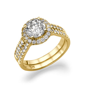 "1.5 Carat 14K Yellow Gold Moissanite & Diamonds ""Deborah"" Engagement Ring"