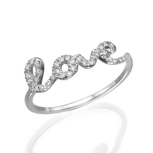 0.11 TCW 14K White Gold Diamond Love Ring - Diamonds Mine