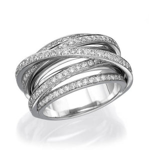 Multi Band Women Diamond Wedding Ring, 14K Gold 1.5 TCW Arch Ring - Diamonds Mine