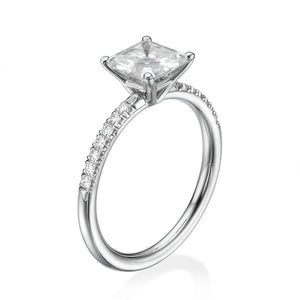 "1.3 Carat 14K White Gold Moissanite & Diamonds ""Belinda"" Engagement Ring"