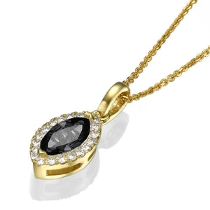 "0.9 TCW 14K White Gold Black Diamond ""Kristen"" Pendant 