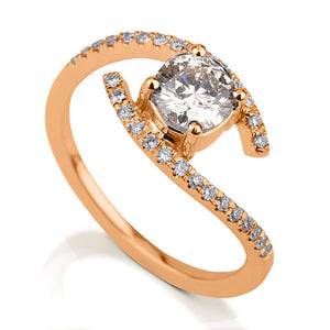 0.6 Carat 14K Rose Gold Moissanite & Diamonds
