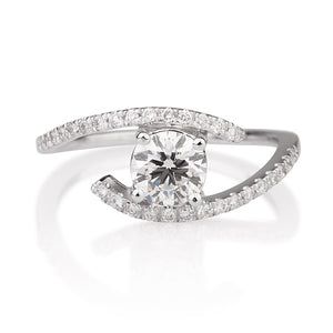 "0.6 Carat 14K White Gold Moissanite & Diamonds ""Penelope"" Engagement Ring"