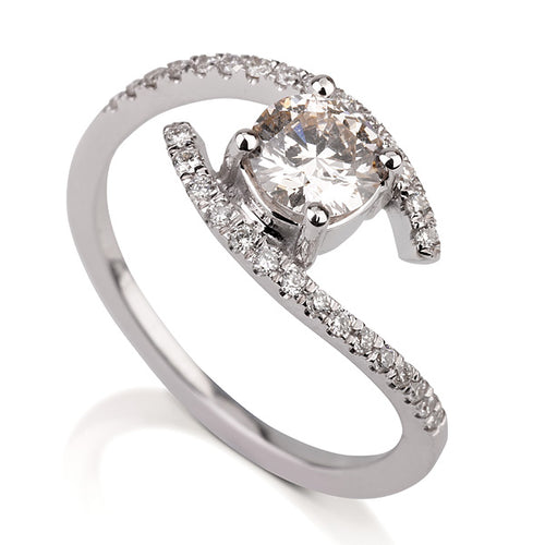 0.6 Carat 14K White Gold Moissanite & Diamonds