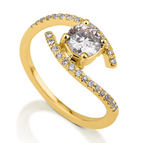 0.6 Carat 14K Yellow Gold Moissanite & Diamonds