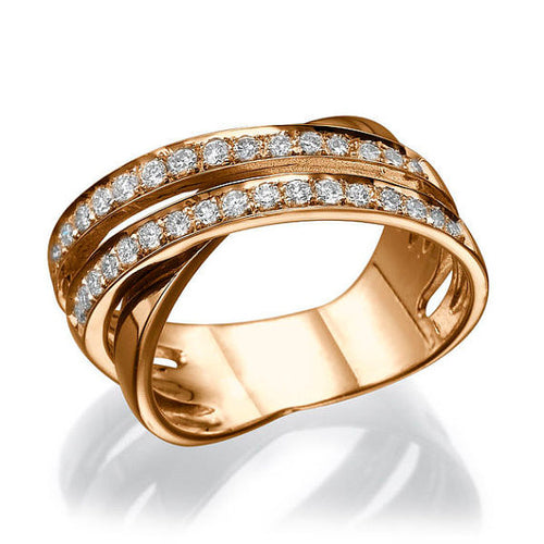 "0.51 TCW 14K Rose Gold Diamond ""Anna"" Wedding Band - Diamonds Mine"