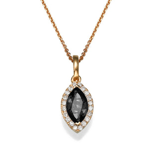 "0.9 TCW 14K Yellow Gold Black Diamond ""Kristen"" Pendant"