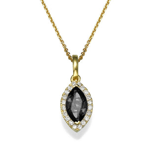 0.9 TCW 14K Yellow Gold Black Diamond
