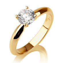 "Load image into Gallery viewer, 1 Carat 14K Yellow Gold Moissanite ""Mary"" Engagement Ring"