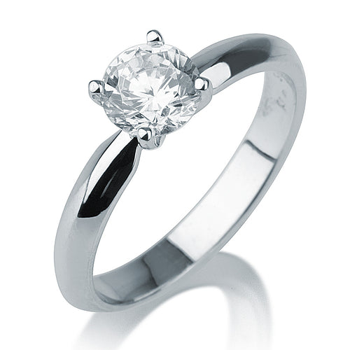 "1 Carat 14K White Gold Diamond ""Mary"" Engagement Ring - Diamonds Mine"