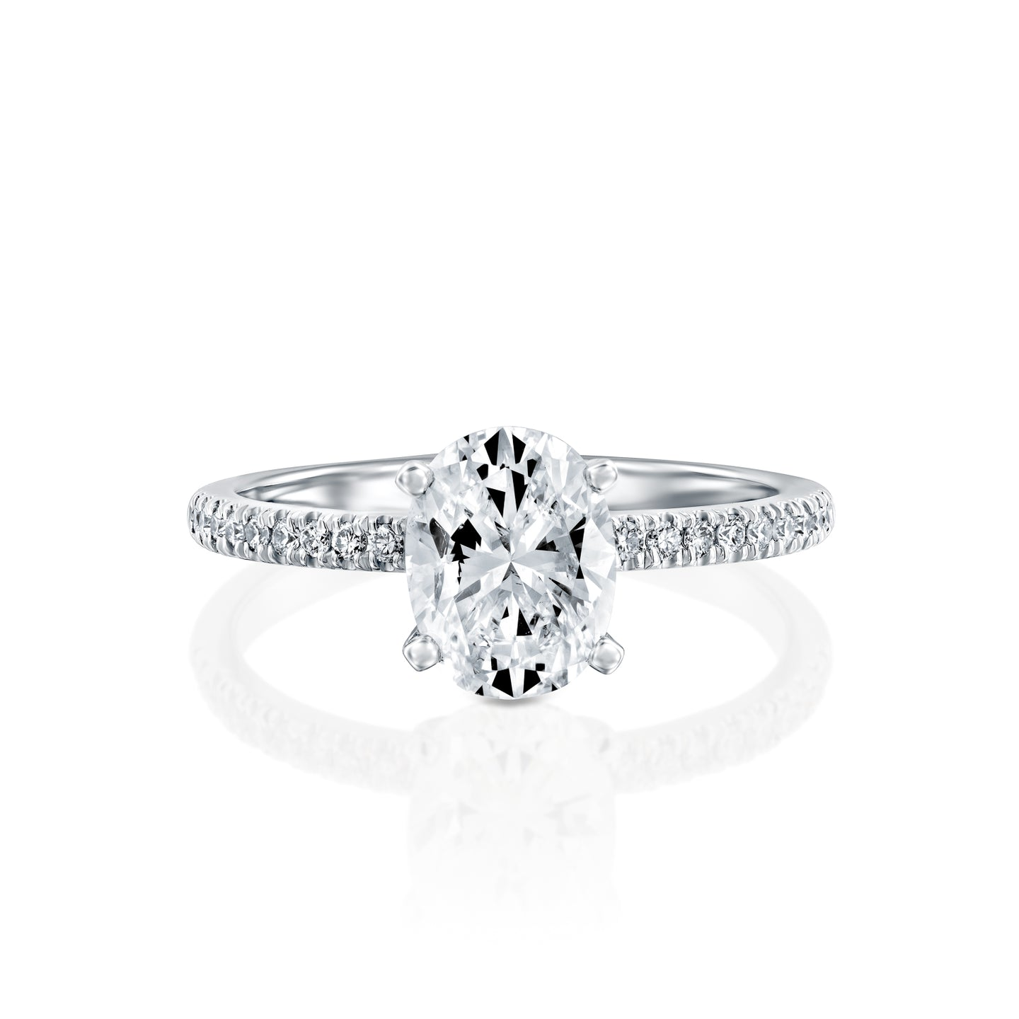 1 Carat 14K White Gold Moissanite & Diamonds