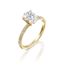 "Load image into Gallery viewer, 2.2 Carat 14K Yellow Gold Moissanite & Diamonds ""Shanon"" Engagement Ring"