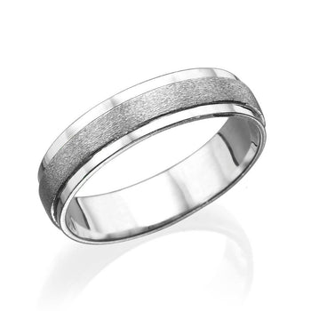 Wedding Bands For Men Satin Center 14k White Gold - Diamonds Mine