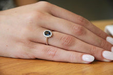 Load image into Gallery viewer, Oval Blue Sapphire and Diamond Ring - Diamonds Mine