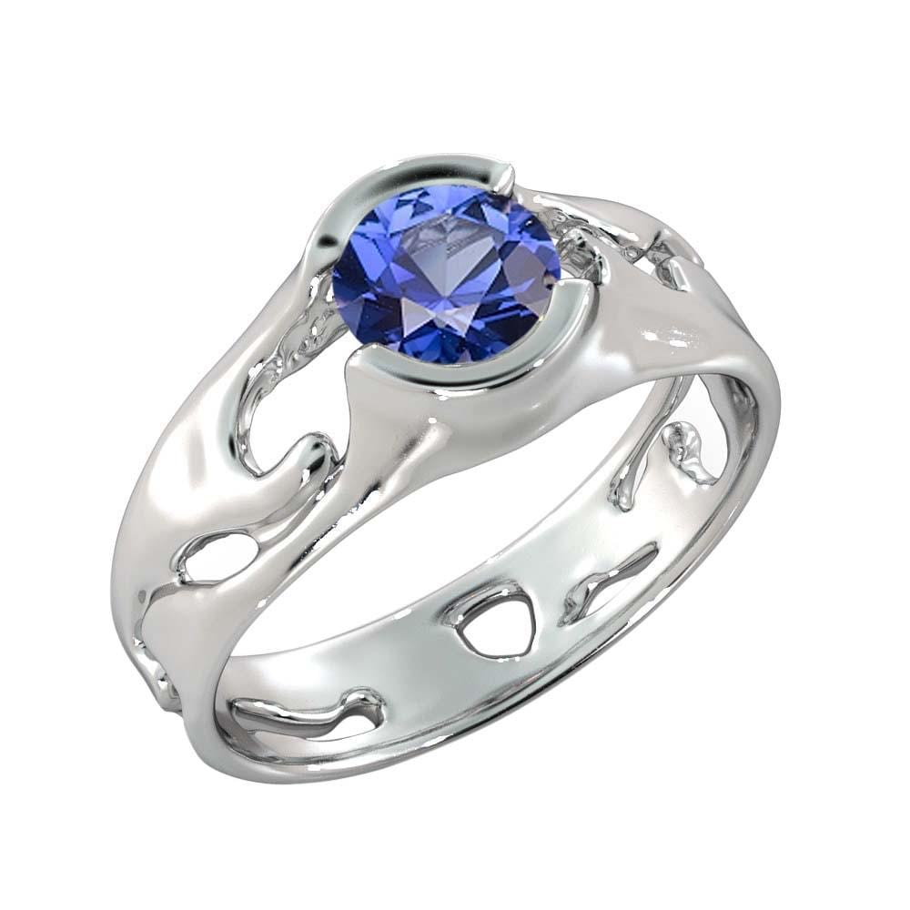 "1 Carat 14K White Gold Blue Sapphire ""Diane"" Engagement Ring - Diamonds Mine"