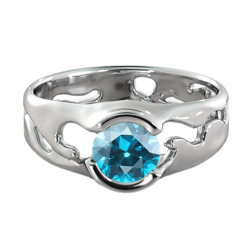 "1 Carat 14K White Gold Blue Topaz ""Diane"" Engagement Ring - Diamonds Mine"