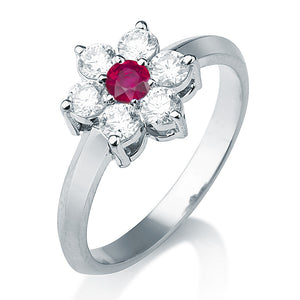 "0.55 TCW 14K White Gold Ruby ""Nora"" Engagement Ring"