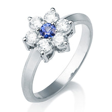 "Load image into Gallery viewer, 0.5 Carat 14K White Gold Blue Sapphire & Diamonds ""Nora"" Engagement Ring 