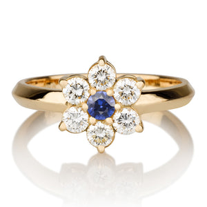 "0.55 TCW 14K Yellow Gold Blue Sapphire ""Nora"" Engagement Ring"