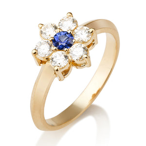 "0.5 Carat 14K White Gold Blue Sapphire & Diamonds ""Nora"" Engagement Ring"