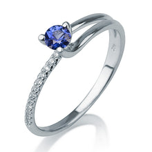 "Load image into Gallery viewer, 0.3 Carat 14K White Gold Blue Sapphire & Diamonds ""Amanda"" Engagement Ring 