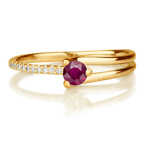 "0.36TCW 14K Yellow Gold Ruby ""Amanda"" Engagement Ring - Diamonds Mine"