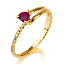 "Load image into Gallery viewer, 0.3 Carat 14K Whte Gold Ruby & Diamonds ""Amanda"" Engagement Ring 