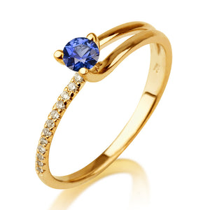 "0.36 TCW 14K Yellow Gold Blue Sapphire ""Amanda"" Engagement Ring - Diamonds Mine"