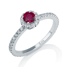 "Load image into Gallery viewer, 0.57 TCW 14K Yellow Gold Ruby ""Holly"" Engagement Ring - Diamonds Mine"