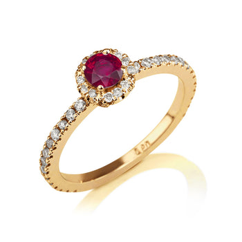 "0.57 TCW 14K Yellow Gold Ruby ""Holly"" Engagement Ring - Diamonds Mine"