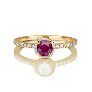 "0.5 Carat 14K White Gold Ruby & Diamonds ""Holly"" Engagement Ring"