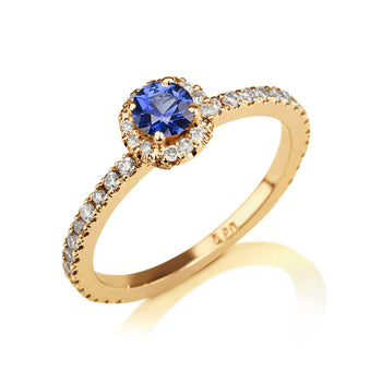 "0.57 TCW 14K Yellow Gold Blue Sapphire ""Holly"" Engagement Ring - Diamonds Mine"