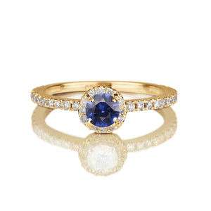 "0.5 Carat 14K Rose Gold Blue Sapphire & Diamonds ""Holly"" Engagement Ring"