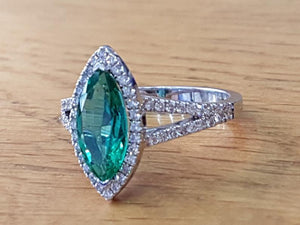 "1.7 Carat 14K White Gold Emerald & Diamonds ""Delia"" Engagement Ring"