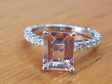 "Load image into Gallery viewer, 2.9 Carat 14K White Gold Morganite & Diamonds ""Bella"" Engagement Ring"