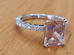 "2.9 Carat 14K White Gold Morganite & Diamonds ""Bella"" Engagement Ring"