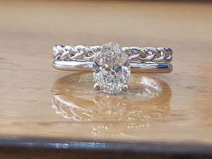 "0.75 Carat 14K White Gold Diamond ""Annabel"" Ring Set"