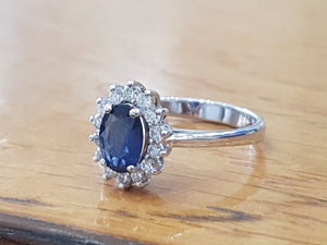 "1.2 Carat 14K White Gold Blue Sapphire & Diamonds ""Yvette"" Engagement Ring"