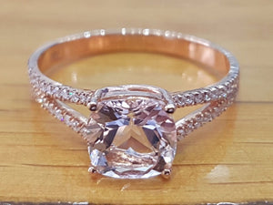"2.2 Carat 14K Rose Gold Morganite & Diamonds ""Dorothy"" Engagement Ring"