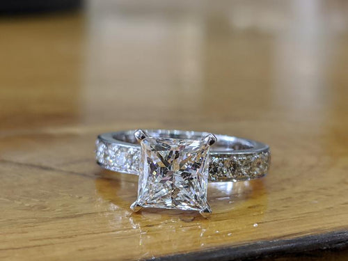3 Carat 14K White Gold Princess Diamond Engagement Ring