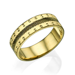 6MM 14K Yellow Gold Screw Style Edges Men Wedding Band - Diamonds Mine