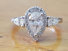 Load image into Gallery viewer, Vintage Halo Pear Cut Engagement Ring - Diamonds Mine