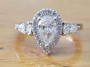 Vintage Halo Pear Cut Engagement Ring - Diamonds Mine